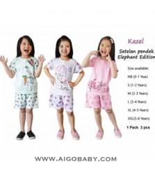 Baju Stelan Pendek Kazel Elephant Edition